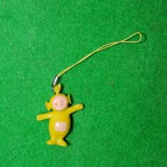 Surpriza Kinder - Figurina, jucarie, breloc (decor telefon), Teletubbies, Laa-Laa, galben, 4cm, cauciuc tare, colectie, deco