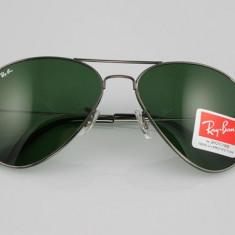 Ochelari de Soare Casual RayBan Ray Ban Model 3026 Lentila Mirror/Green/Brown si Rama Argintie/Aurie/Neagra | FULL BOX | CEL MAI MIC PRET GARANTAT - Ochelari de soare Ray Ban, Unisex, Maro, Pilot, Metal, Protectie UV 100%