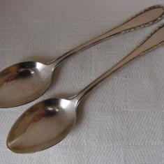 Frumoase doua lingurite din alpacca argintate, marcate NS ALPACCA (2), Tacamuri