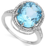 Inel argint - INEL 0, 925 Silver Sterling - Blue TOPAZ & Genuine DIAMOND