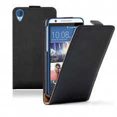 HUSA HTC DESIRE 820 820S 820G PIELE NEAGRA FLIP INCHIDERE MAGNETICA+ folie ecran, Negru, Cu clapeta
