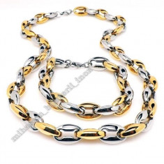 Lantisor placate cu aur - Lant+bratara INOX placat = 80 ron