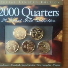 S.U.A. / America - Set 5 sferturi de dolar din aur 24K, 2000 Quarters 24 Karat Gold Collection, 100 euro + taxele postale, detalii pe forum