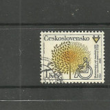 CEHOSLOVACIA 1981 - HANDICAPAT IN SCAUN CU ROTILE, timbru stampilat T143