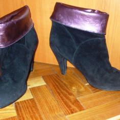Cizme botine negre mov cu toc inalt piele intoarsa LA REDOUTE 41 - Botine dama Asos, Culoare: Negru, Piele sintetica