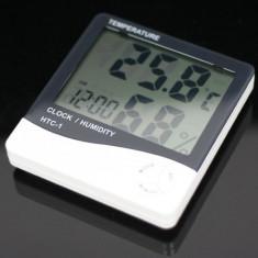 Termometru digital cu ceas pentru interior si exterior