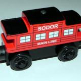 Wooden trenulet Thomas - SODOR LINE CABOOSE RED vagon din lemn cu magnet - NOU - Trenulet de jucarie, Unisex