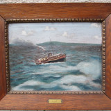 Vapor pe lacul Balaton, pictura veche in ulei pe panza, marina - Pictor roman