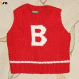 Haine Copii 1 - 3 ani, Veste, Baieti - Vesta tricotata rosie, marca BENETTON, baieti 3 ani