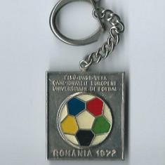 Breloc Campionatele Europene Universitare de Fotbal / Romania 1972 - Insigna fotbal