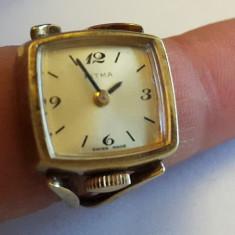 Ceas dama - Ceas inel reglabil dama placat cu aur IOMICRON EMILE JOBIN functiomal