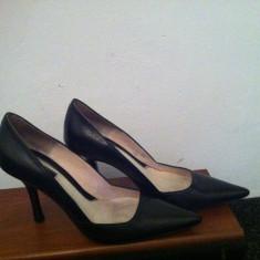 Pantofi negru elegant toc, dama, zara nr 36, stiletto - Pantof dama Zara, Piele naturala