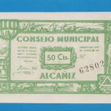 Spania 50 centimes 1927 ALCANIZ UNC - bancnota europa
