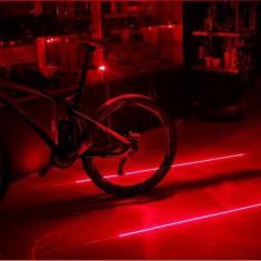 Stop bicicleta cu 5 leduri si 2 lasere rosii, Faruri si semnalizatoare