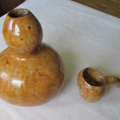 CARAFA SI CANA-din dovleac(bostan)-artizanat, deosebit, vintage