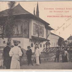 EXPOZITIA GENERALA ROMANA BUCURESTI 1906, PESCARIILE STATULUI, CIRCULATA AUG.06 - Carte Postala Muntenia pana la 1904, Printata