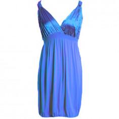 NOU Rochie albastra ocazie petrecere satinata cu bretele RARE ASOS 38 M - Rochie banchet Zara, Culoare: Albastru, Scurta