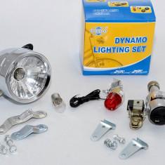Kit de iluminare pt bicicleta - Dinam 12 volti, far metalic cu 2 faze si stop