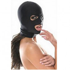 Masca Bondage BDSM Spandex Lycra Hood Restriction Slave Open Mouth Eyes Negru - Masca carnaval, Marime: Marime universala