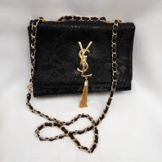 Geanta dama Yves Saint Laurent(YSL) mica neagra, Culoare: Negru, Geanta de umar, Asemanator piele
