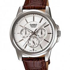 Ceas Casio barbatesc cod BEM-307L-7AVDF - pret 729 lei; NOU; ORIGINAL - Ceas barbatesc Casio, Casual, Quartz, Inox, Piele, Ziua si data
