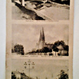 Carte Postala, Circulata, Fotografie, Timisoara - CP TIMISOARA IMAGINI POD PESTE CANAL BEGA, BISERICA DIN JOSEFIN PIATA SCUDIERILOR