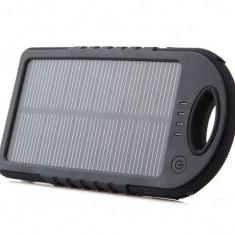 Baterie externa, incarcator solar cauciucat cu 2 USB, 5000 mAh