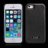 Husa LUX piele naturala iCARER Luxury, iPHONE SE / 5 / 5s, back cover, NEGRU