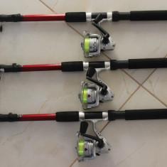 Set 3 Lansete cu 3 Mulinete + Guta Cadou Marime 2,1 Metri Lanseta + Mulineta