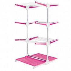 Suport vertical pentru intins rufe roz cu alb Meliconi - Junior
