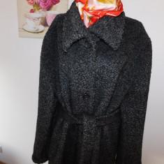 Palton dama, Lana - PALTON ITALIA, GRI ANTRACIT BOUCLE, NR 48 - 50