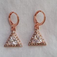 Cercei aur - Superbi cercei filati in aur de 9K cu cristale SWAROVSKI si CZ - gold filled