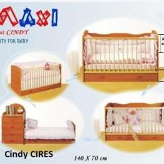 Patut copii CINDY - TRANSFORMABIL (cu sertar) - 140x70 cm Cires