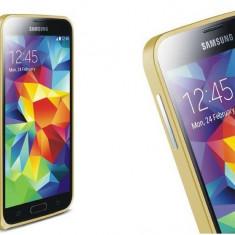 Bumper aluminiu ultra subtire 0.7mm pt Samsung Galaxy S5 culoare: GOLD - Bumper Telefon, Auriu