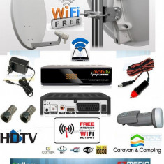 Sistem complet satelit - Antena tv cu wifi Camion.rulota camping, cabana