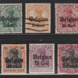 Ocupatia Germana in Belgia - 1916 - serie mixta, Stampilat