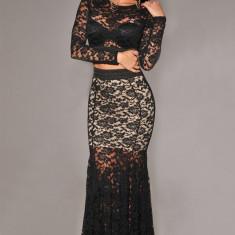 Costum dama - M322-1 Compleu top si fusta lunga cu dantela, model sirena