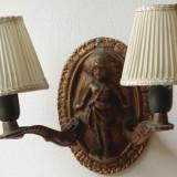 Vintage - Lampa / Veioza de perete cu abajur textil si bec - model deosebit !!!