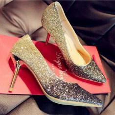 Pantofi dama - CH2312-7 Pantofi eleganti cu varf ascutit si insertii aurii