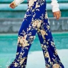 Pantaloni dama - CL442-4 Pantaloni largi de vara, cu talie inalta si print floral
