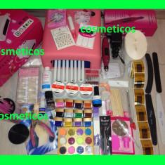 Kit Unghii false Sina gel set manichiura -freza, lampa, geluri colorate, tipsuri - BEST