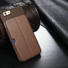Husa lux iPhone 6 silicon + piele ECO maro model stand slot card - Husa Telefon Apple, Fara snur, Carcasa