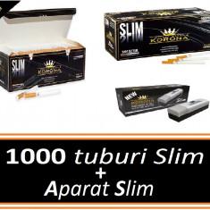 Foite tigari - Pachet KORONA SLIM + APARAT SLIM - 1000 tuburi pentru tigari, filtre tigari