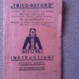 Carte hobby - Trico record aparat de tricotat cu mana instructiuni pt modelul de intrebuintare