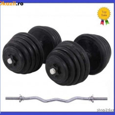 Gantere/Haltere - Set gantere cauciucate 2x15KG/Brat 30 KG + Bara cromata Z pt haltere