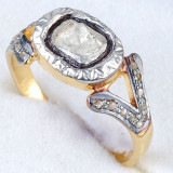 Superb inel argint 925 placat cu aur galben cu diamant natural de 5.5/3.5 mm! - Inel diamant, Carataj aur: Nespecificat