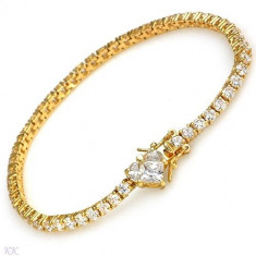 Bratara placate cu aur - Superba bratara de 13.00 carate Cubic zirconia din Argint 925 placata cu Aur.