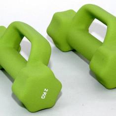 Gantere/Haltere - Set de 2 gantere din neopren 2 x 2 kg - cu manere suplimentare - pentru fitness