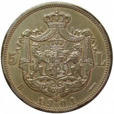 Monede Romania, An: 1901 - 5 LEI 1901 CALITATE ! Piesa de colectie!