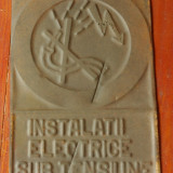 Metal/Fonta - Indicator din tabla - imstalatii electrice sub tensiune - protectia muncii RSR !